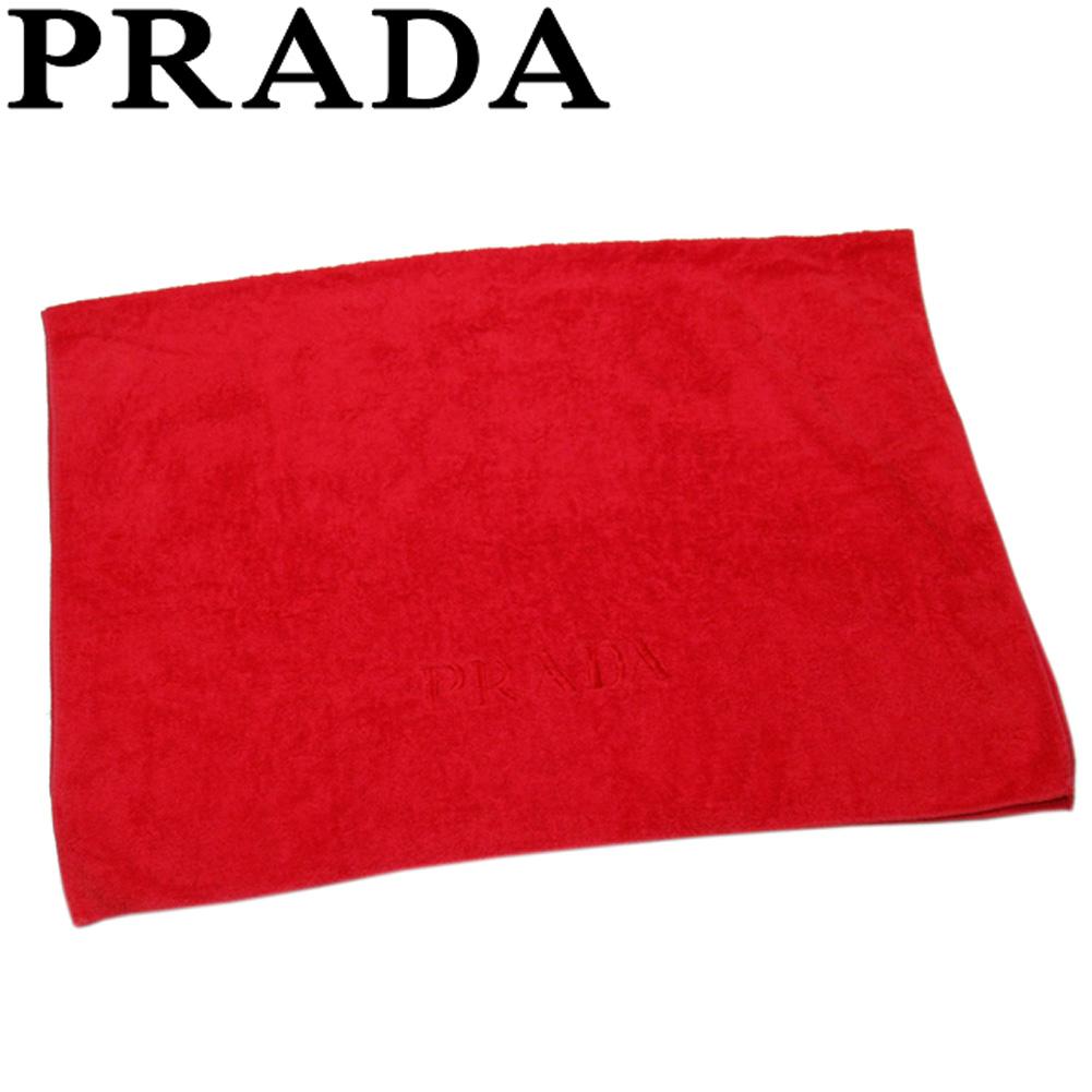 【中古】 プラダ タオル バスタオル レディース メンズ ロゴ刺繍 レッド コットン 綿 PRADA T19311
