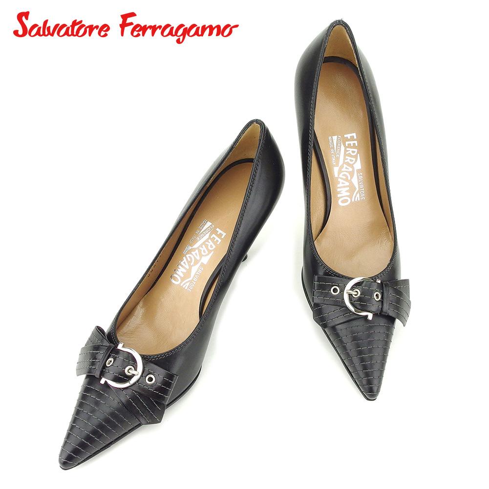 【中古】 サルヴァトーレ フェラガモ Salvatore Ferragamo パンプス シューズ 靴 レディース #6 ブラック レザー T14455