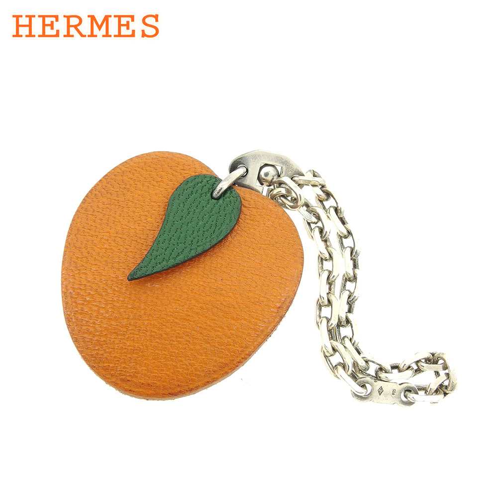 【中古】 エルメス CHANEL キーホルダー キーリング レディース フルーツモチーフ オレンジ シルバー レザー×シルバー素材 人気 良品 S938