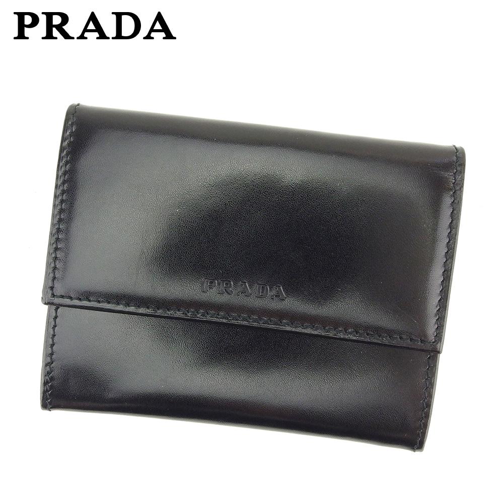 【中古】 プラダ PRADA 名刺入れ カードケース レディース メンズ ブラック レザー T11282 .
