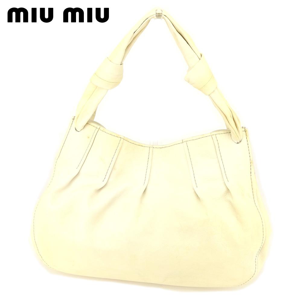 【中古】 ミュウミュウ miumiu トートバッグ ワンショルダー レディース  ベージュ レザー 人気 セール S959