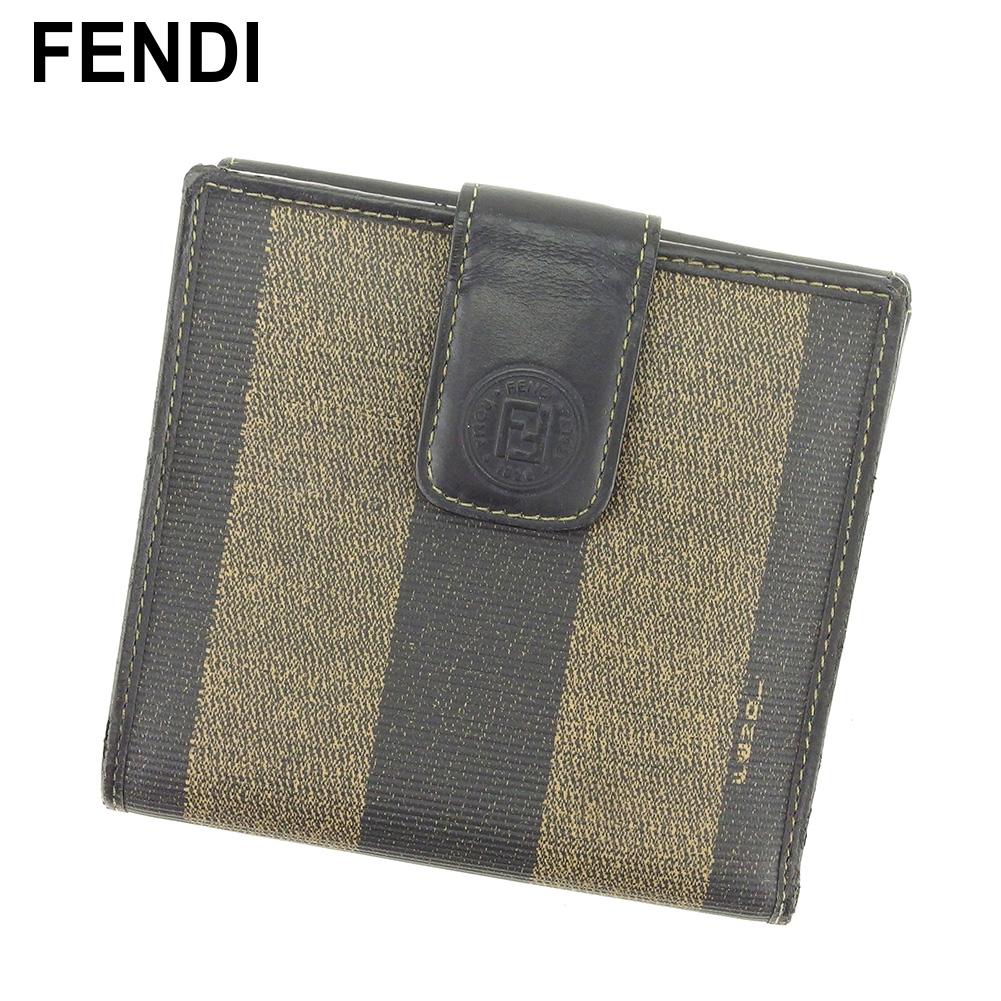 【中古】 フェンディ FENDI Wホック 財布 二つ折り 財布 レディース メンズ ペカン ブラック ベージュ PVC×レザー 人気 セール S964