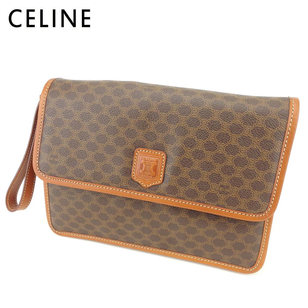 【中古】 セリーヌ Celine クラッチバッグ セカンドバッグ レディース メンズ マカダム ブラウン PVC×レザー 人気 セール S969