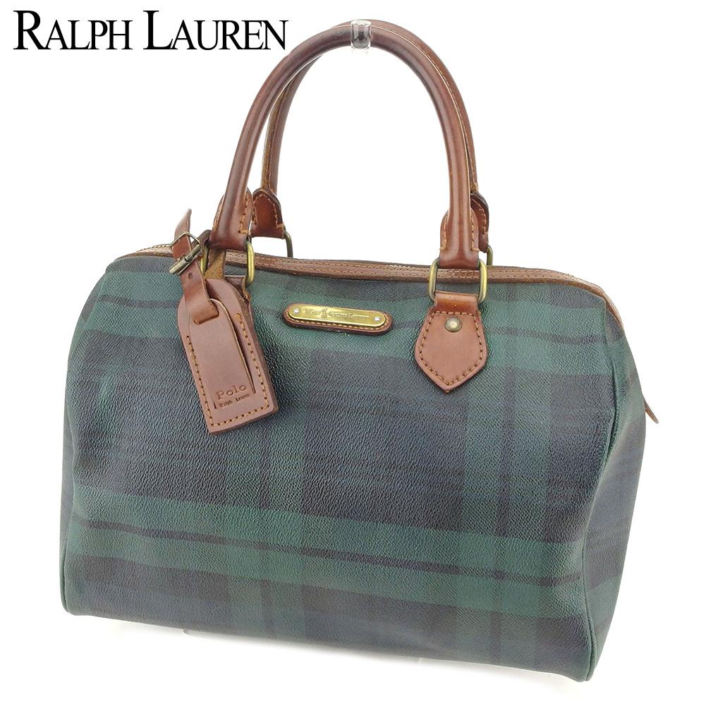 【中古】 ラルフローレン Ralph Lauren ボストンバッグ ミニボストンバッグ レディース メンズ チェック グリーン ブラウン レザー 人気 セール S976