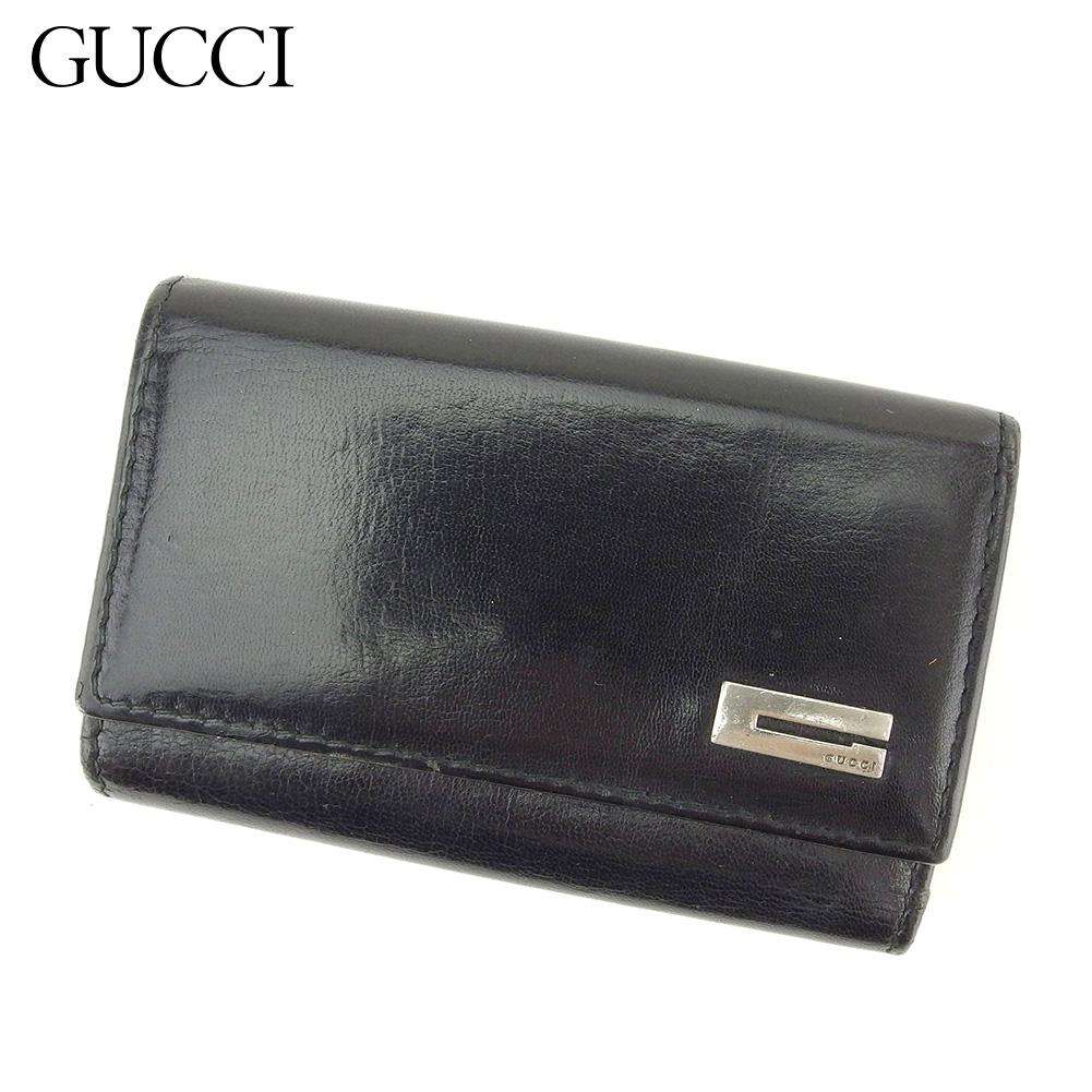 【中古】 グッチ Gucci キーケース 6連キーケース レディース メンズ ブラック レザー T15109
