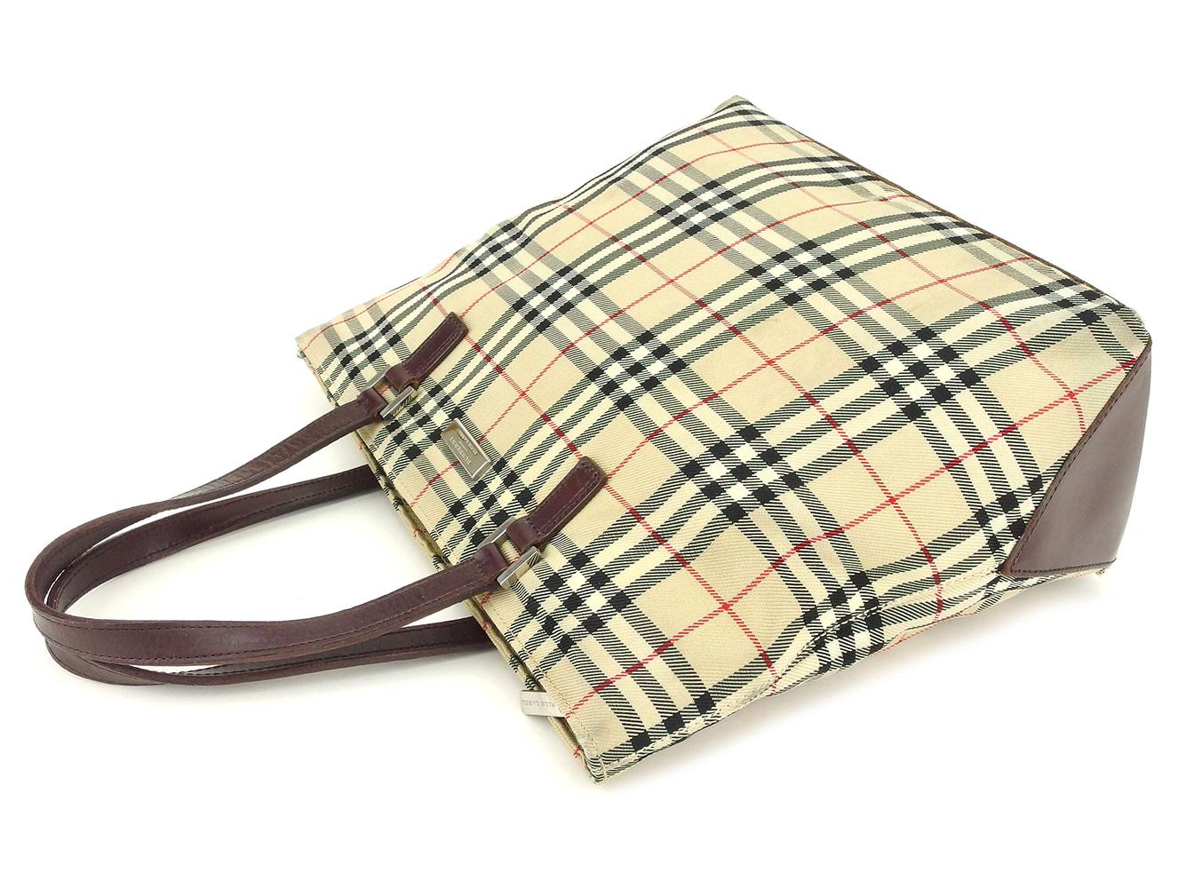 Burberry BURBERRY tote bag handbag Lady s Novacek beige canvas X leather  popularity sale S984 6119496e30a88