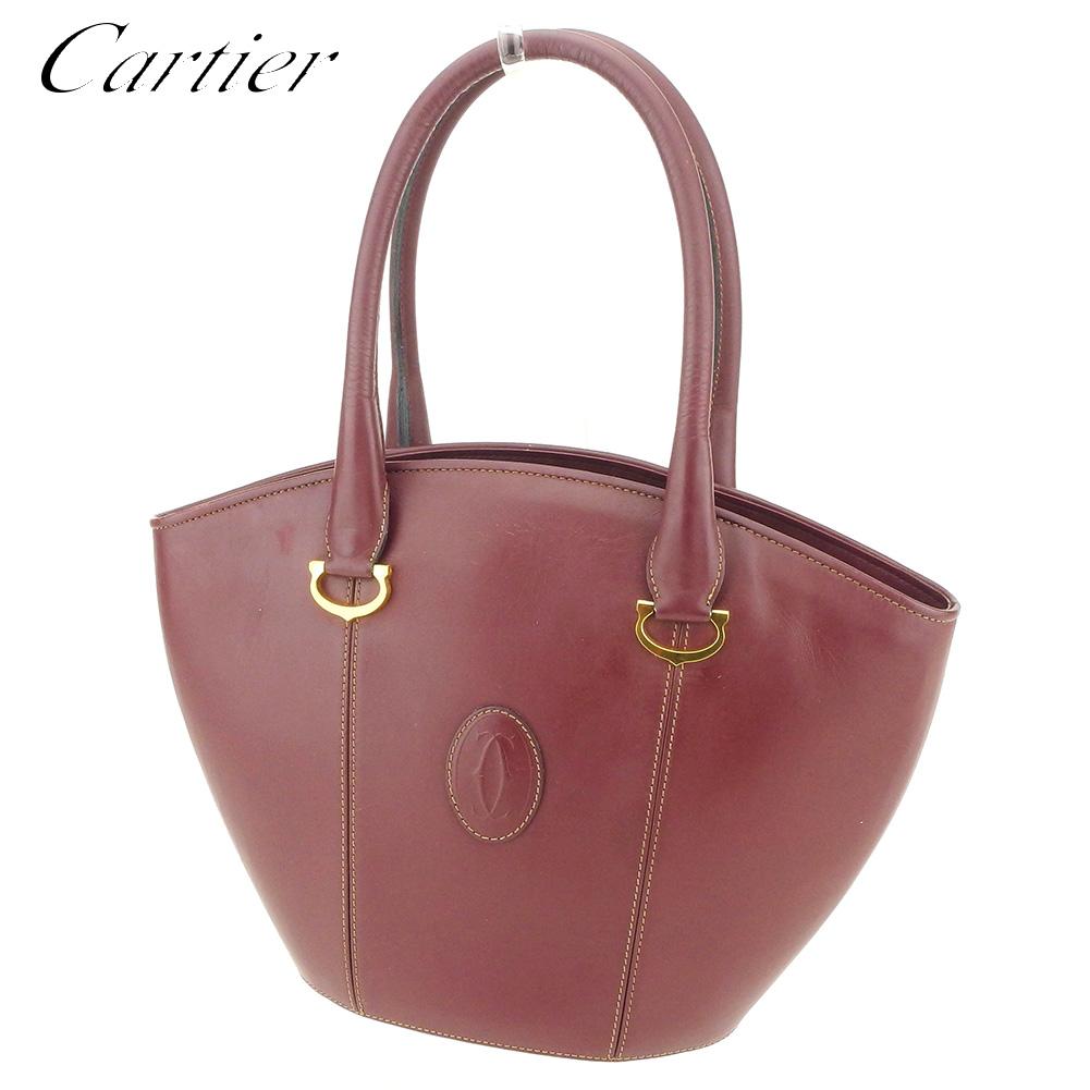 【中古】 カルティエ Cartier ハンドバッグ レディース マストライン ボルドー レザー 人気 セール T8550