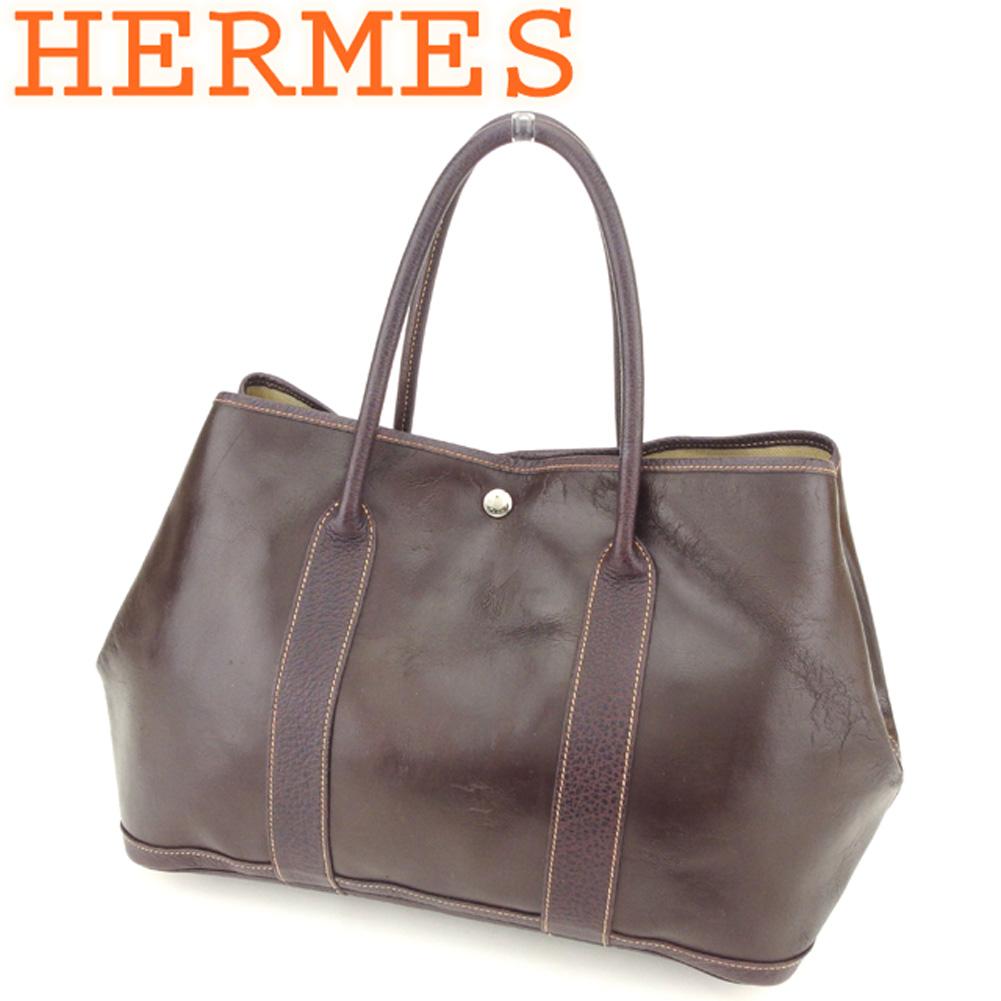 【中古】 エルメス HERMES トートバッグ ワンショルダー レディース メンズ ガーデンパーティ PM アマゾニア ブラウン レザー 人気 セール T8562