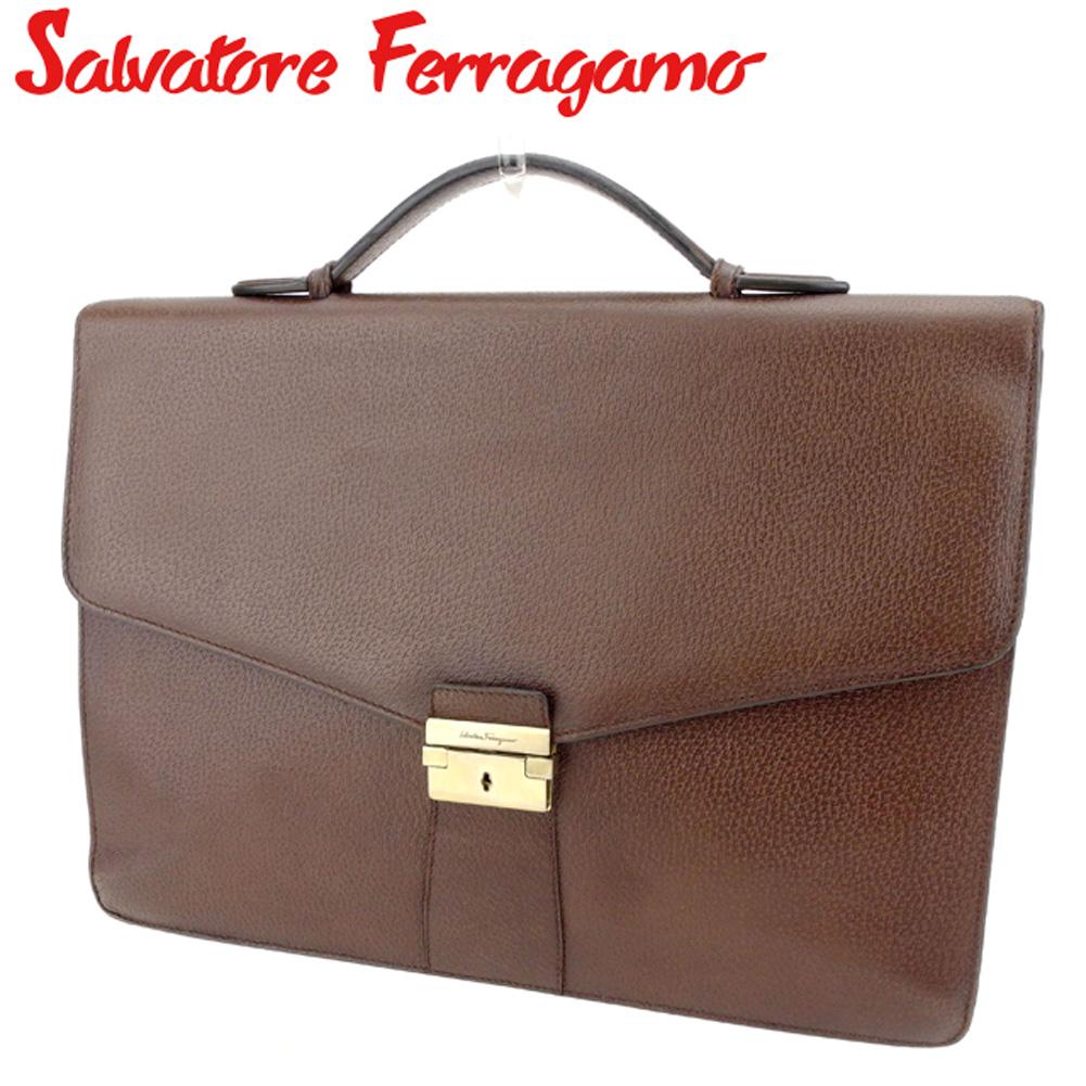 【中古】 サルヴァトーレ フェラガモ Salvatore Ferragamo ビジネスバッグ ハンドバッグ 書類バッグ レディース メンズ  ブラウン レザー 美品 セール T8594