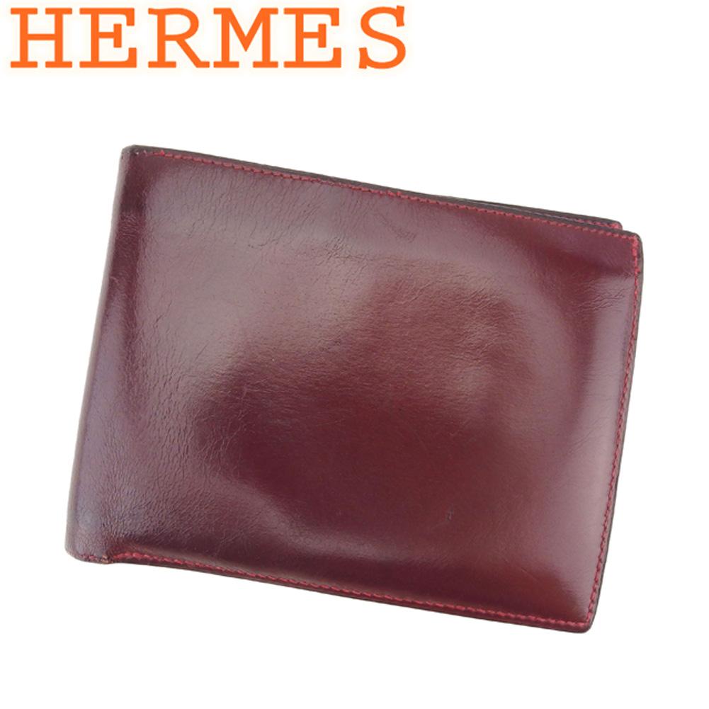 【中古】 エルメス HERMES 二つ折り 札入れ 二つ折り 財布 レディース メンズ  ボルドー レザー 人気 良品 T8603