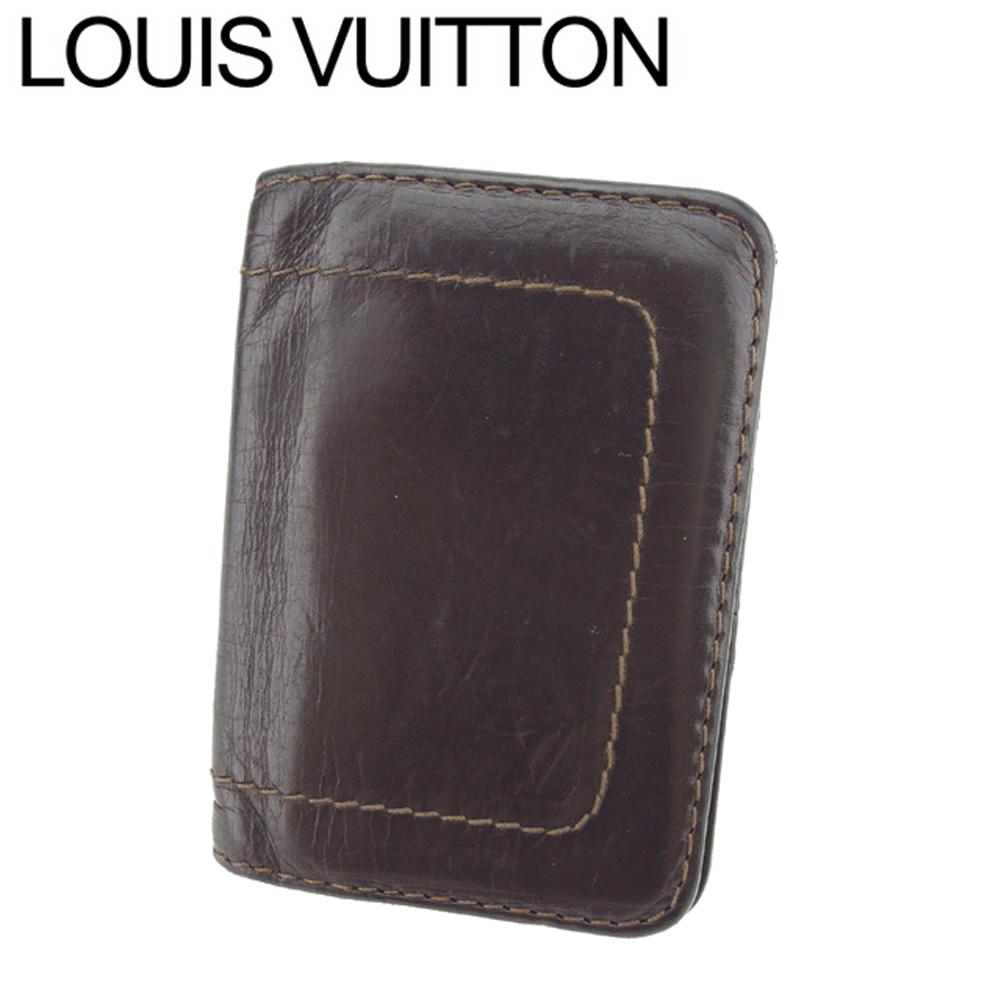 【中古】 ルイ ヴィトン Louis Vuitton カードケース カード 名刺入れ メンズ オーガナイザードゥポッシュ ブラウン ユタレザー T8618