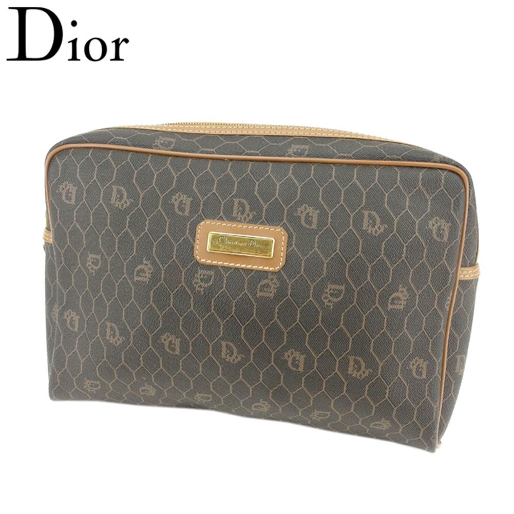 【中古】 ディオール Dior クラッチバッグ セカンドバッグ レディース メンズ オールドディオール ロゴ柄 ブラック ブラウン ゴールド PVC×レザー 廃盤 人気 T8620