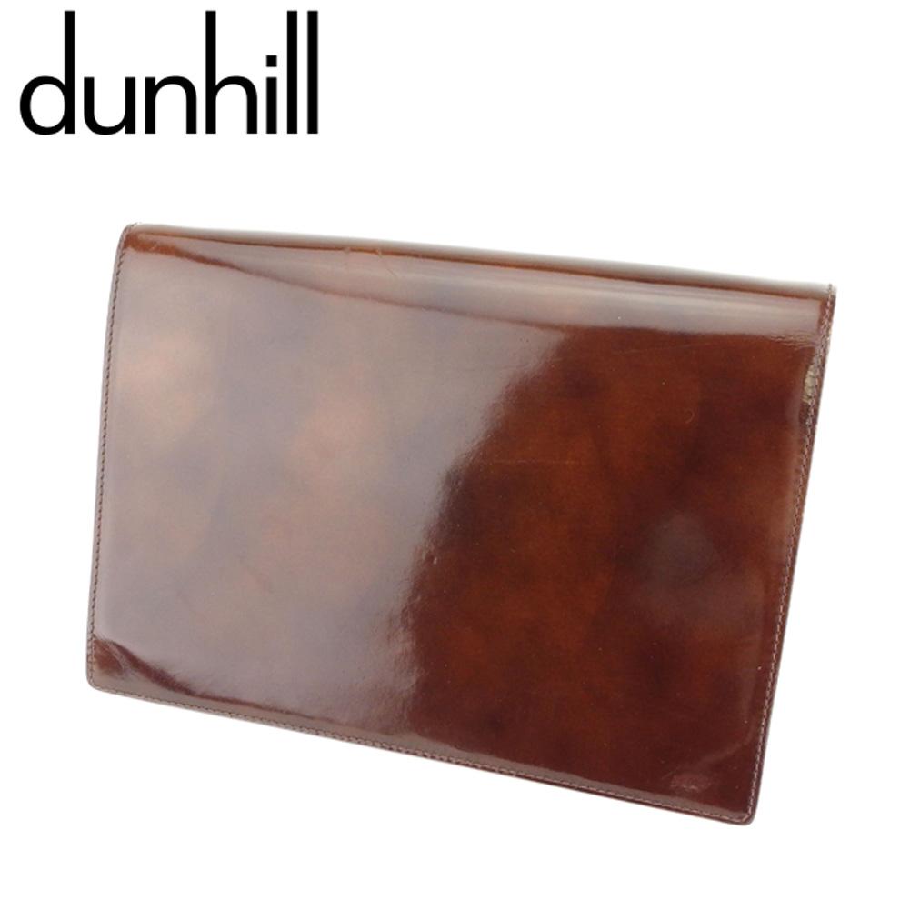 【中古】 ダンヒル dunhill クラッチバッグ セカンドバッグ バッグ メンズ スクエアフォルム ブラウン シルバー エナメルレザー 人気 セール T8670