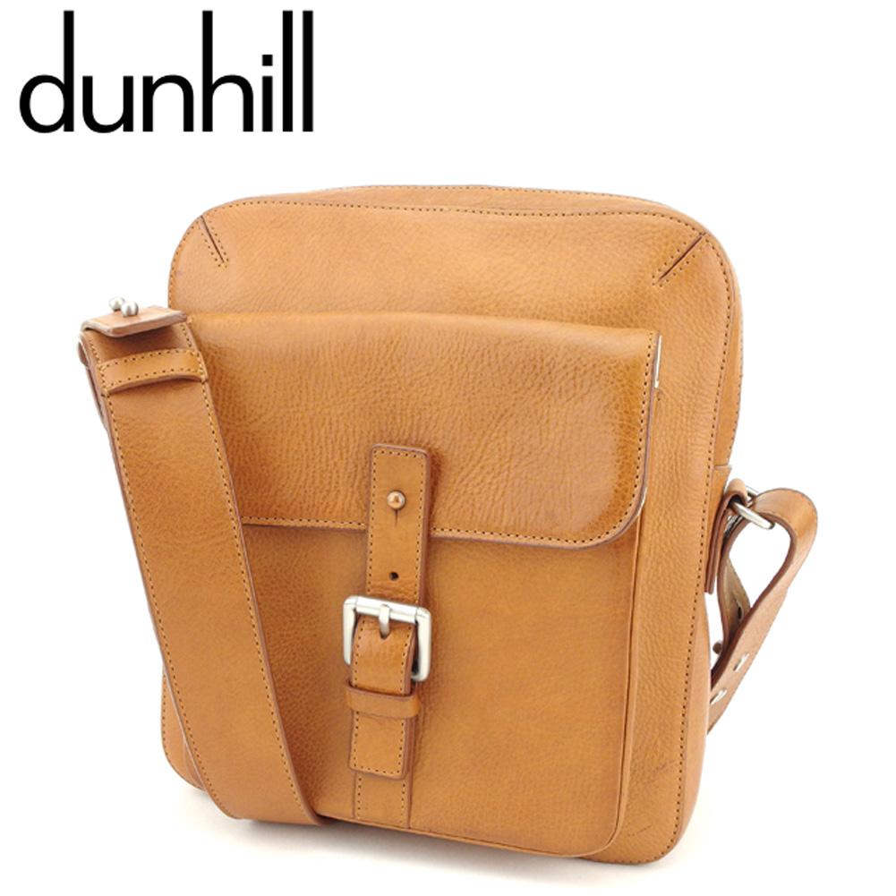 【中古】 ダンヒル dunhill ショルダーバッグ 斜めがけショルダー バッグ メンズ ベルトポケット ライトブラウン シルバー レザー 人気 良品 T8679