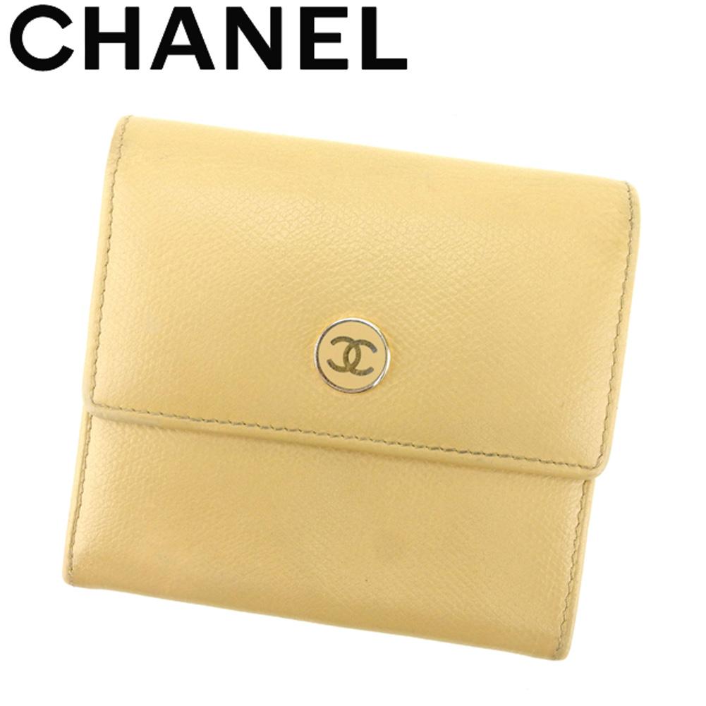 【中古】 シャネル CHANEL Wホック 財布 三つ折り レディース メンズ オールドシャネル ココボタン ベージュ ゴール レザー 人気 良品 T8695