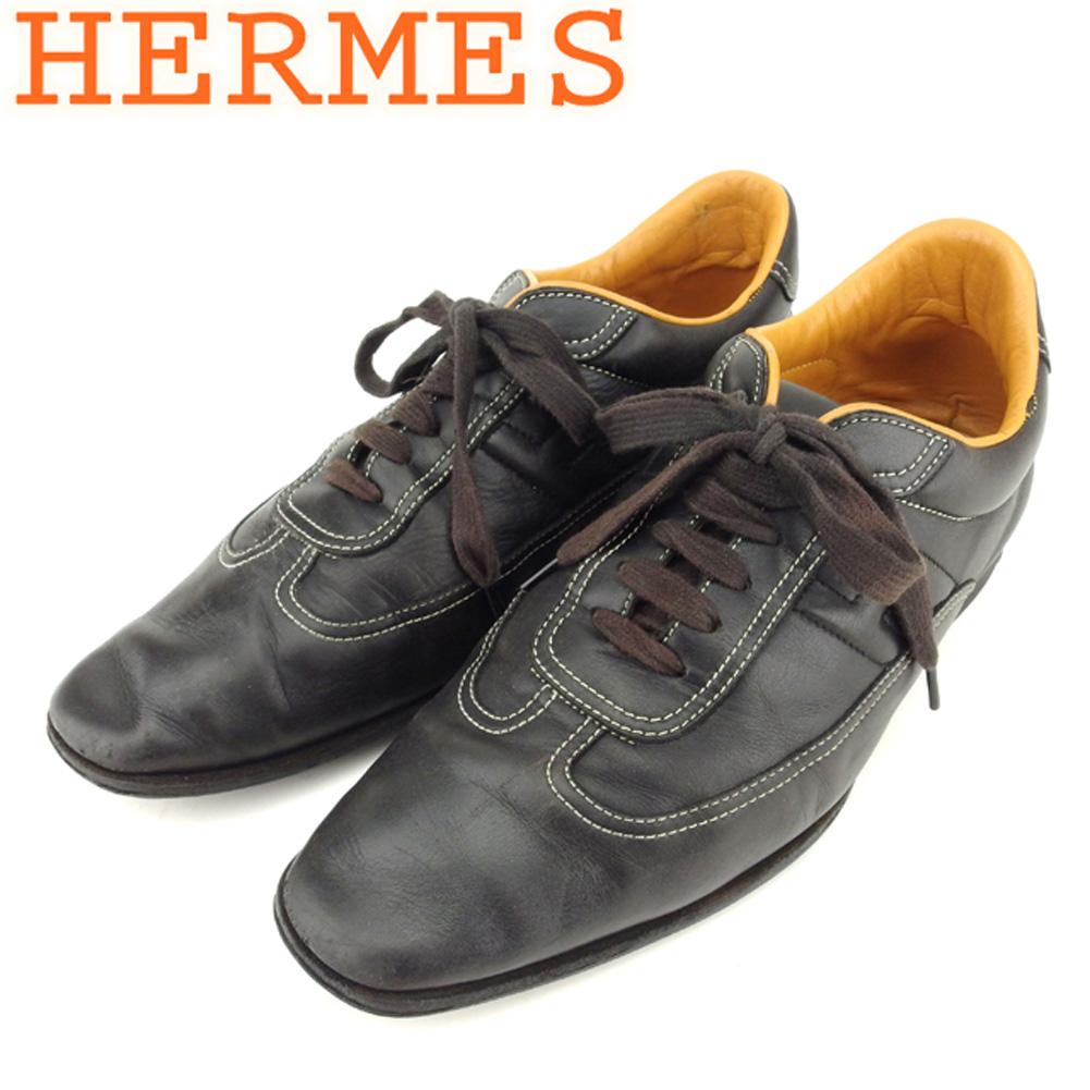 【中古】 エルメス HERMES スニーカー シューズ 靴 メンズ ♯40ハーフ ローカット ブラック ベージュ レザー T8697