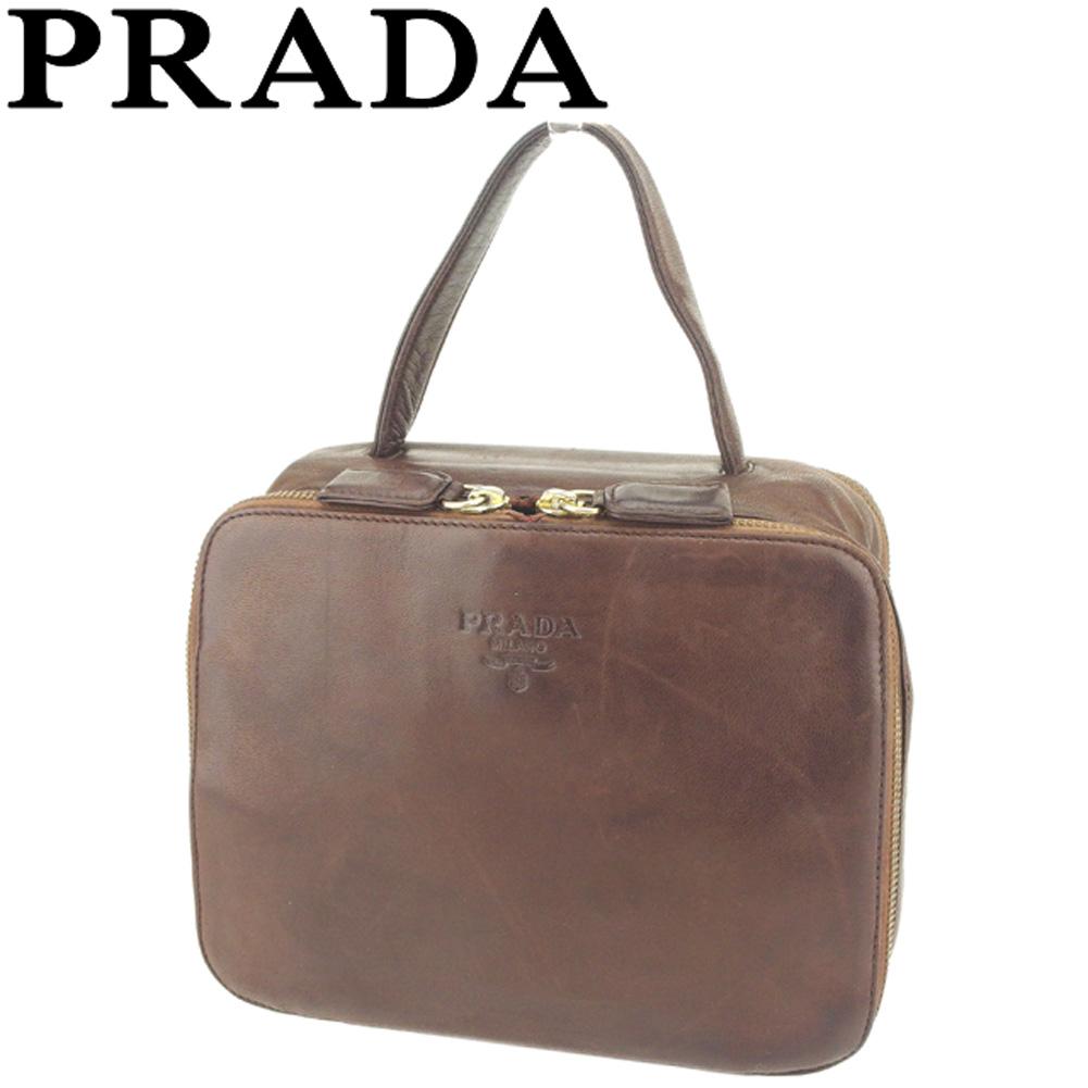 【中古】 プラダ PRADA ハンドバッグ バッグ レディース メンズ ロゴ ブラウン ゴールド レザー 人気 セール T8705
