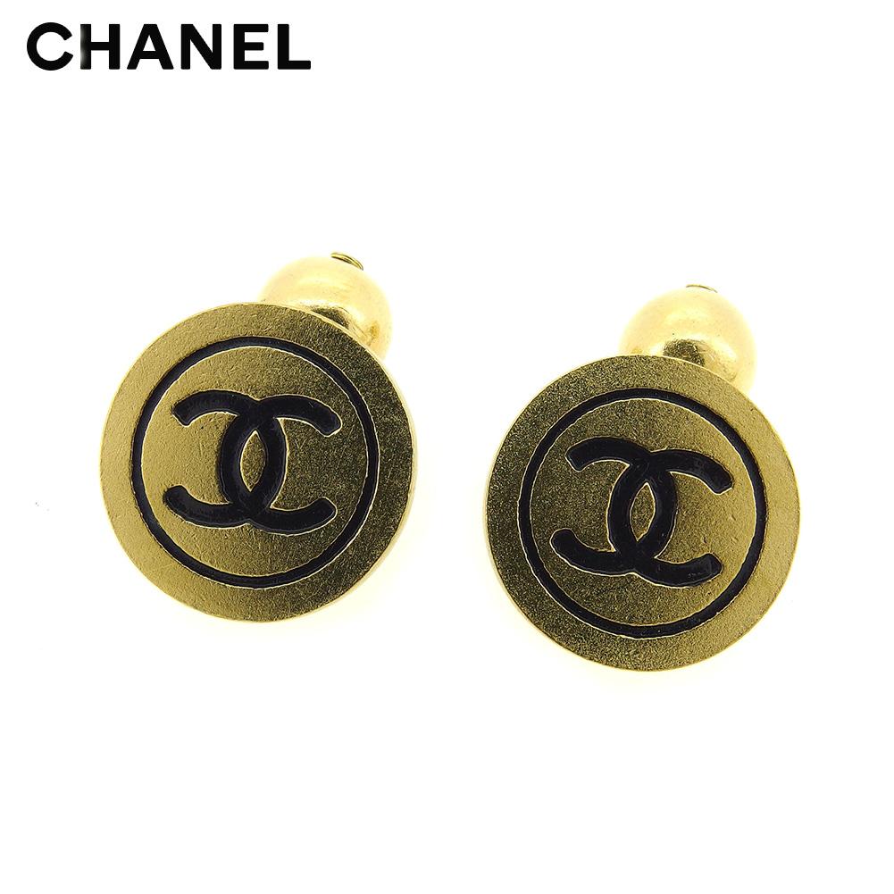 【中古】 シャネル CHANEL カフス レディース メンズ ココマーク ゴールド ブラック ゴールド素材 ヴィンテージ レア T8794