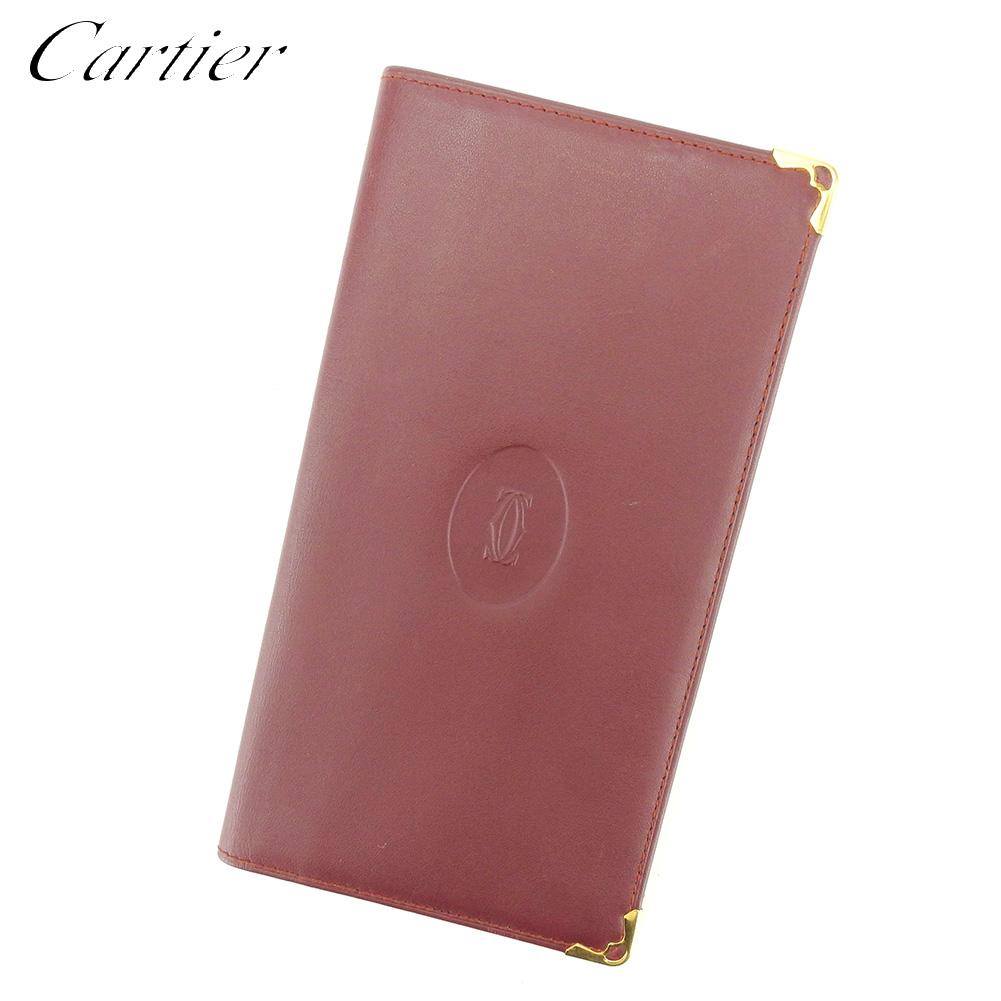 【中古】 カルティエ Cartier 長札入れ 長財布 レディース メンズ ボルドー レザー T8799 .