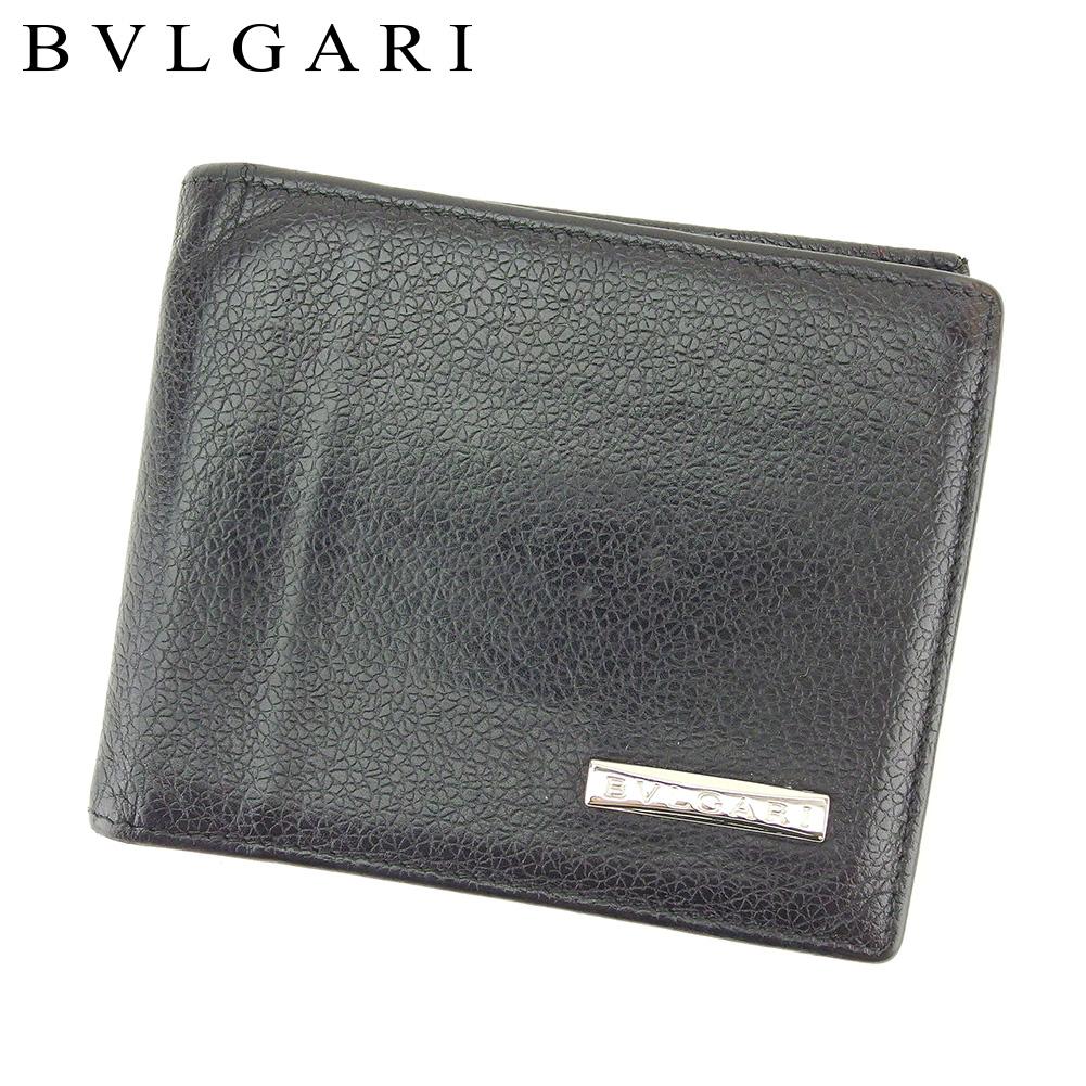 【中古】 ブルガリ BVLGARI 二つ折り 札入れ 二つ折り 財布 レディース メンズ  ブラック レザー 人気 良品 T8804