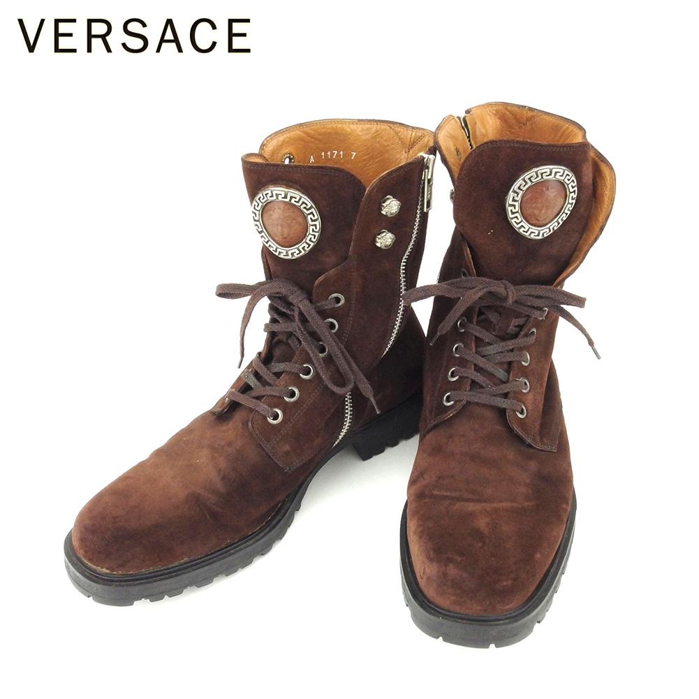 【中古】 ジャンニ ヴェルサーチ GIANNI VERSACE ブーツ シューズ 靴 メンズ #7 ブラウン スエード T8806