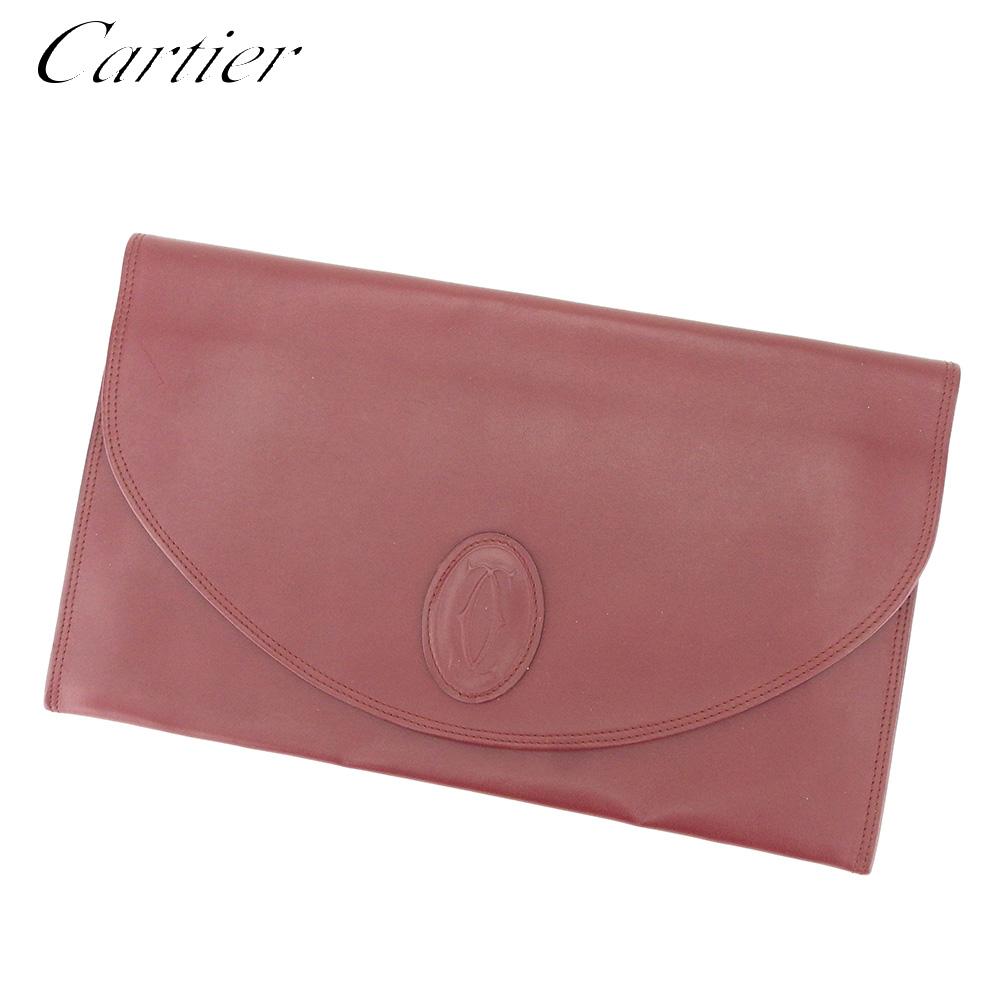 【中古】 カルティエ Cartier クラッチバッグ セカンドバッグ レディース メンズ マストライン ボルドー レザー 人気 良品 T8811