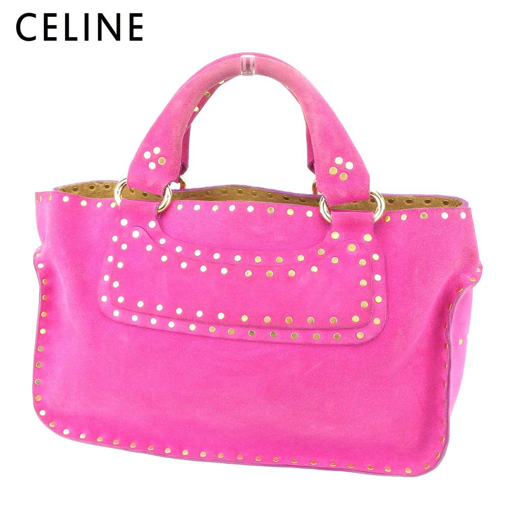【中古】 セリーヌ CELINE トートバッグ ハンドバッグ レディース ブギーバッグ ピンク スエード 人気 セール T9281