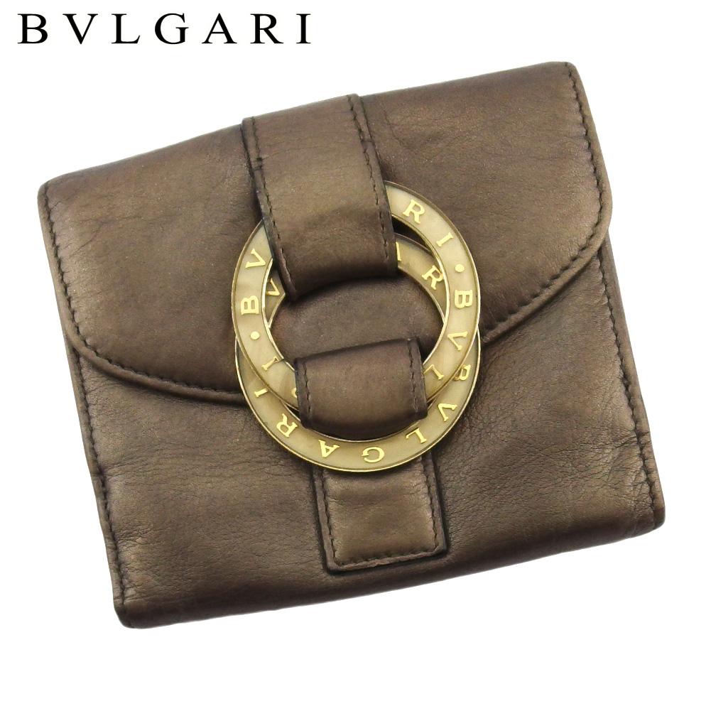 ブルガリ 人気 中古 Wホック 2020 財布 おすすめ 二つ折り ミニ財布 レディース BVLGARI L3152 ベージュ レザー チャンドラ ゴールド ブラウン