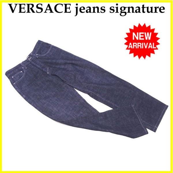 【中古】 ヴェルサーチジーンズシグネチャー VERSACE jeans signature ジーンズ ストレート メンズ ♯29 43サイズ デニム インディゴネイビー 良品 C3038 .
