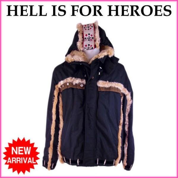 【中古】 ヘルイズフォーヒーローズ HELL IS FOR HEROES コート シングルファスナー メンズ ♯52サイズ スノボウェア リンクスファー ブラック×ベージュ系 良品 人気 E1215 .