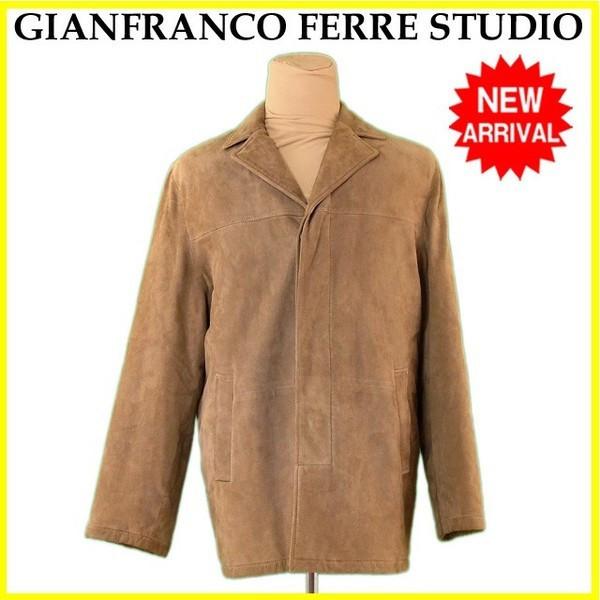 【中古】 ジャンフランコフェレストゥーデイオ GIANFRANCO FERRE STUDIO コート シングル メンズ ♯48サイズ スエード ベージュ 羊革/100%(裏地)レーヨン/57%キュプラ/43% 良品 L2267s .