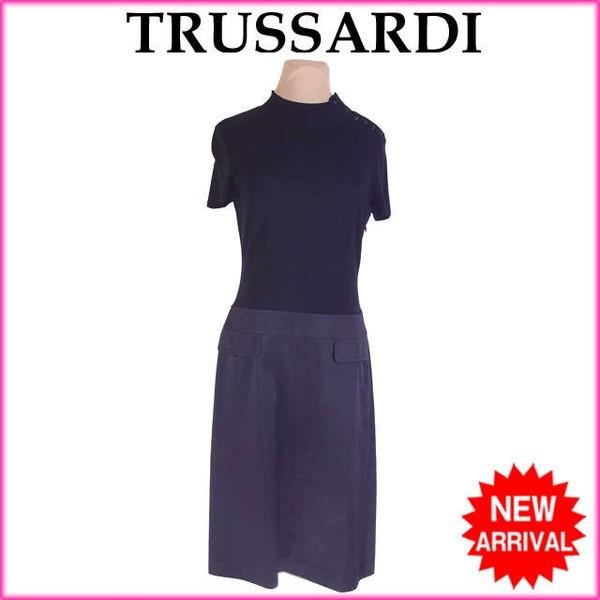 【中古】 トラサルディ TRUSSARDI ワンピース フェイクポケット付き レディース ♯42サイズ ハイネック 切替えデザイン ブラック 美品 人気 G1212 .
