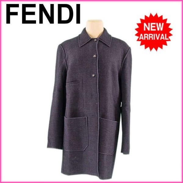 【中古】 フェンディ FENDI コート ロゴボタン レディース ♯40サイズ シングル ダークグレー×ゴールド 激安 人気 G1218