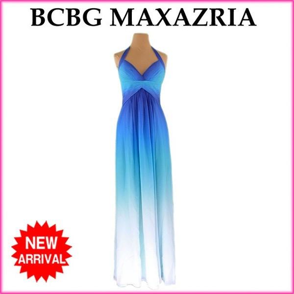 【中古】 ビーシービージーマックスアズリア BCBG MAXAZRIA ワンピース ロング丈 ドレス レディース グラデーション ホルターネック ブルー系 良品 H527 .