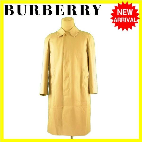 【中古】 バーバリー BURBERRY コート シングル ロング メンズ ノバチェック柄ライナー付き ステンカラー ベージュ 人気 L1864 .