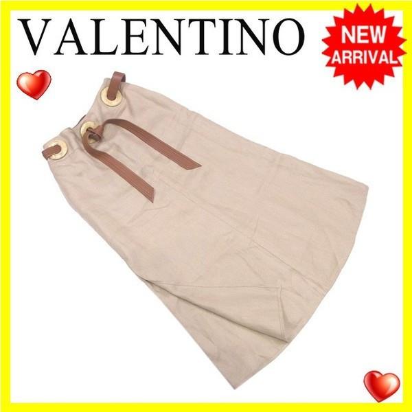 【中古】 ヴァレンティノ VALENTINO スカート サイドスリット ロング レディース ♯4サイズ ウエストベルト ベージュ×ブラウン 良品 L2119 .