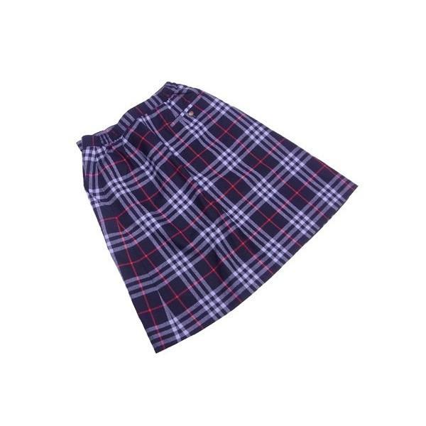 バーバリー BURBERRY スカート ボックスプリーツ レディース ♯Mサイズ ネイビー×レッド系 L212380wXnkPO