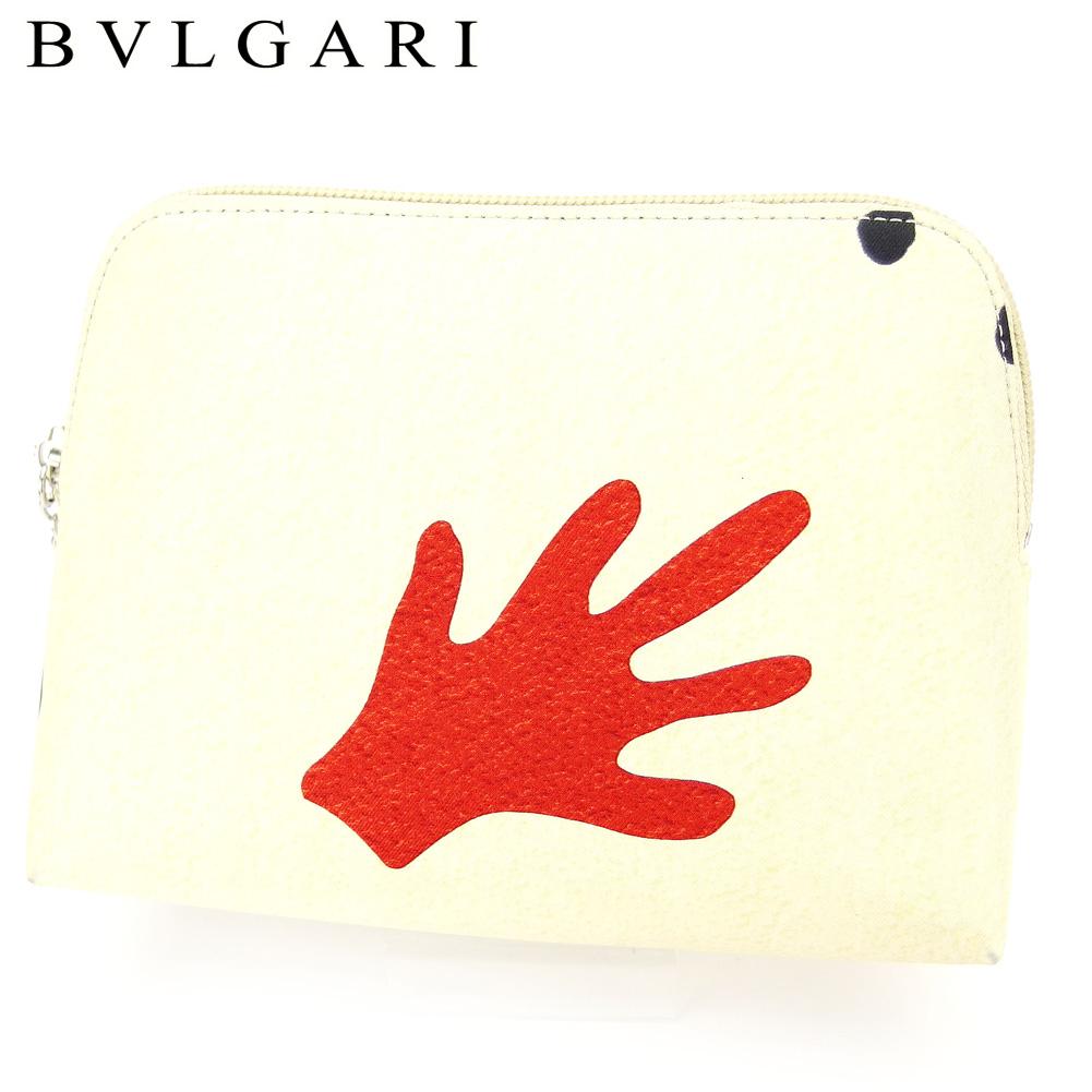 【中古】 ブルガリ BVLGARI ポーチ 化粧ポーチ レディース メンズ MANI AL VENTO ベージュ レッド ブラック シルバー キャンバス C3732