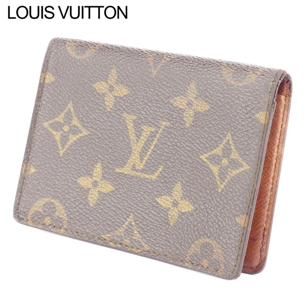 【中古】 ルイ ヴィトン Louis Vuitton 定期入れ パスケース メンズ可 ポルト2カルトヴェルティカル ブラウン ベージュ モノグラムキャンバス D2247 .