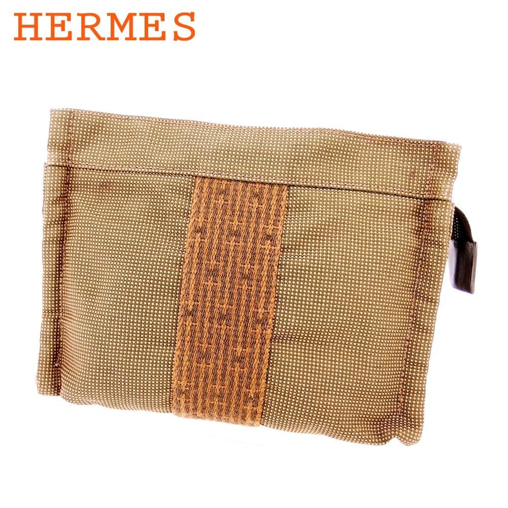 【中古】 エルメス HERMES ポーチ 化粧ポーチ レディース メンズ ブラウン系 キャンバス T16533
