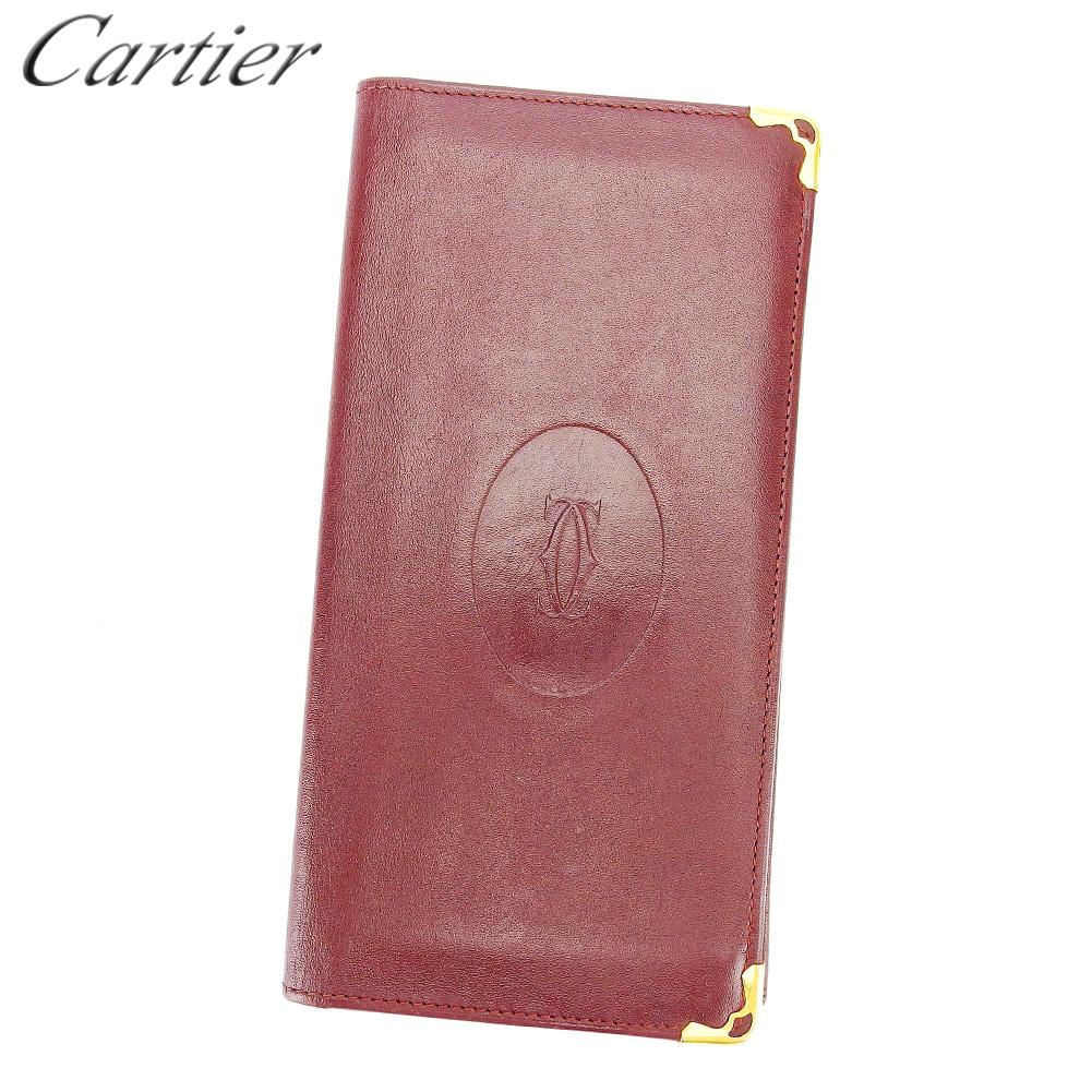 【中古】 カルティエ Cartier 長札入れ 札入れ レディース メンズ ボルドー ゴールド レザー T16540