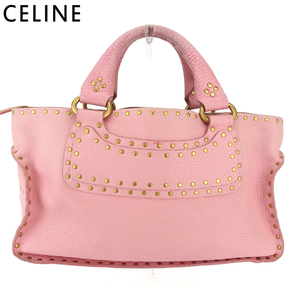【中古】 セリーヌ トートバッグ ハンドバッグ レディース ブギーバッグ ピンク キャンバス×レザー CELINE T16579
