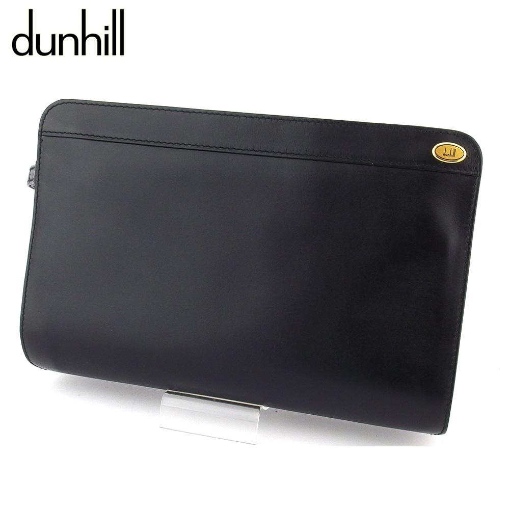 【中古】 ダンヒル クラッチバッグ セカンドバッグ レディース メンズ ブラック レザー dunhill T16580