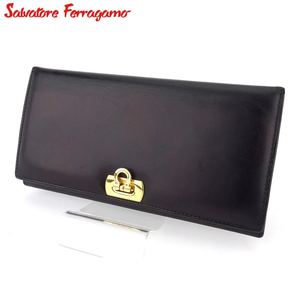 【中古】 サルヴァトーレ フェラガモ 長財布 さいふ ファスナー付き 長財布 さいふ レディース メンズ ガンチーニ ブラック レザー Salvatore Ferragamo T16588