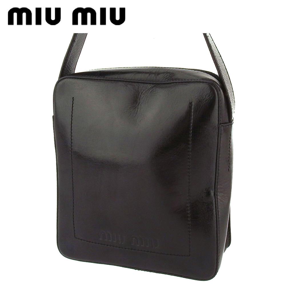 【中古】 ミュウミュウ ショルダーバッグ ワンショルダー レディース メンズ ブラウン レザー miu miu T16616