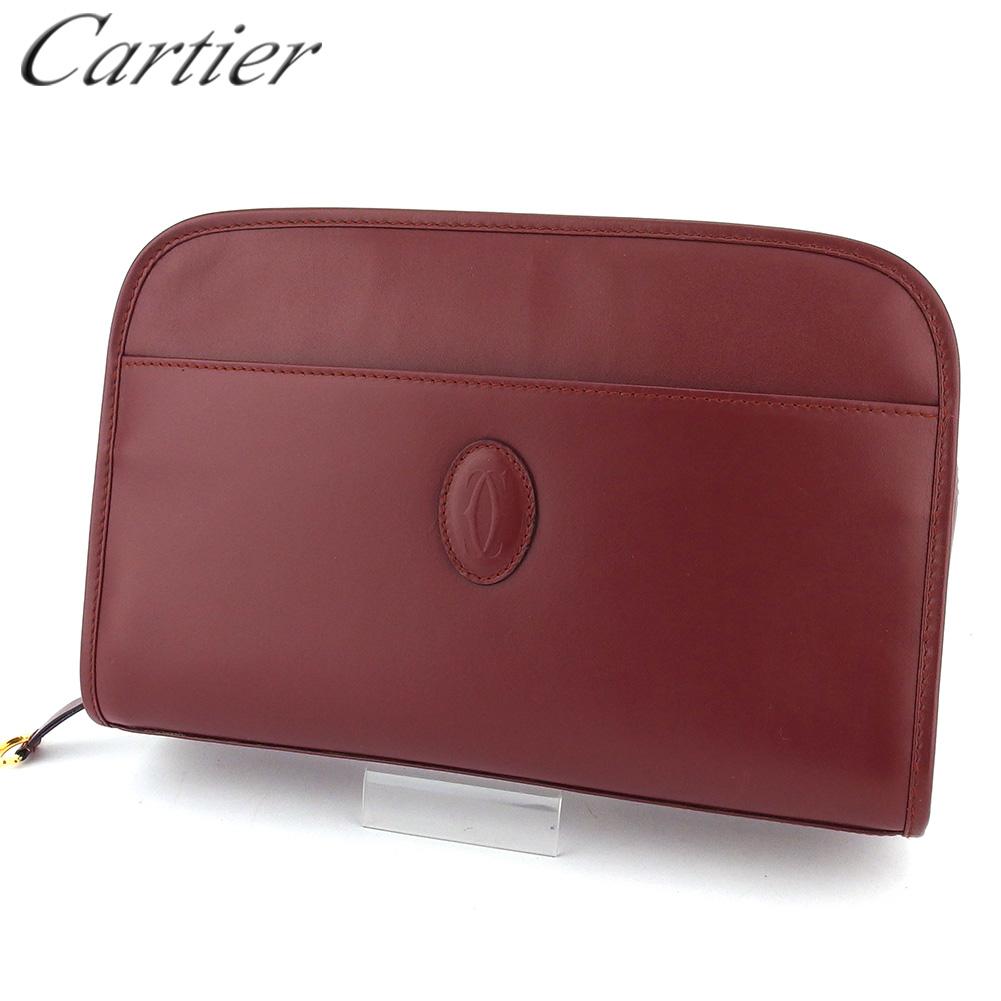 【中古】 カルティエ クラッチバッグ セカンドバッグ レディース メンズ マストライン ボルドー レザー Cartier T16617