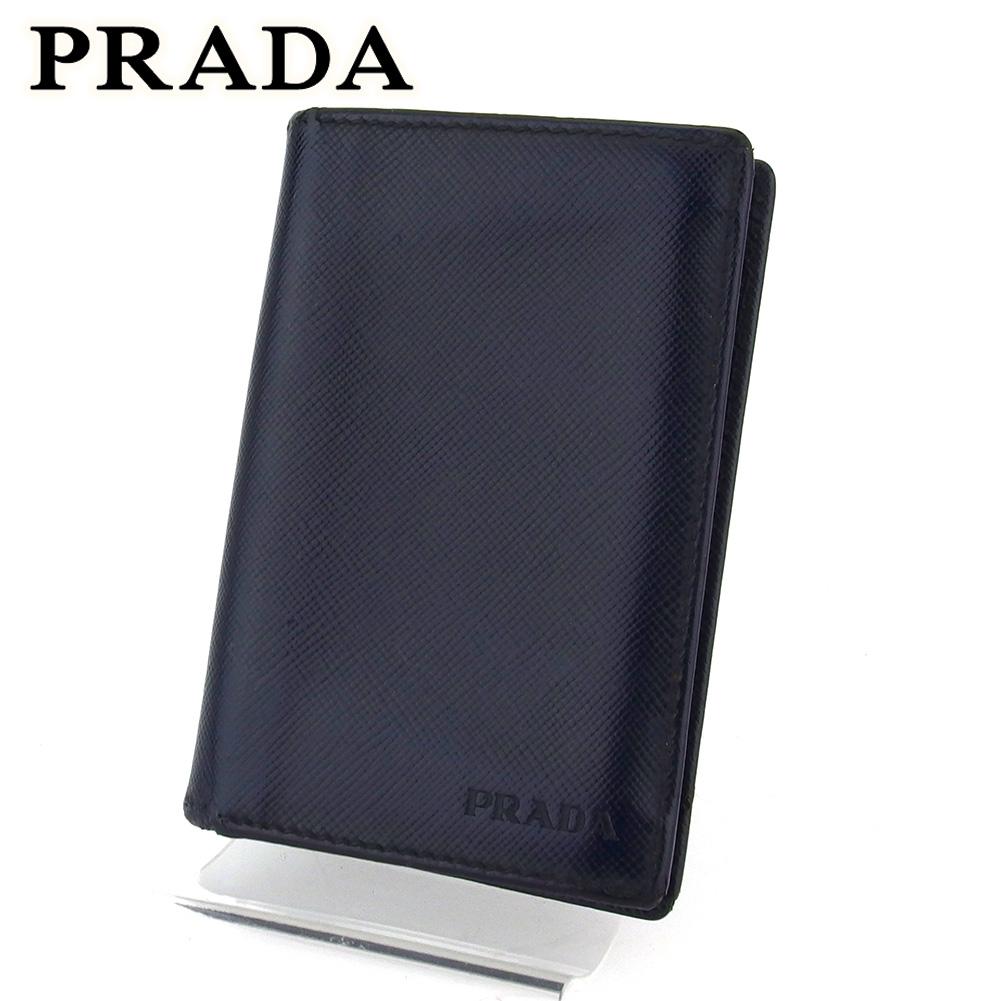 【中古】 プラダ カードケース 名刺入れ レディース メンズ ブラック レザー PRADA T16635 .