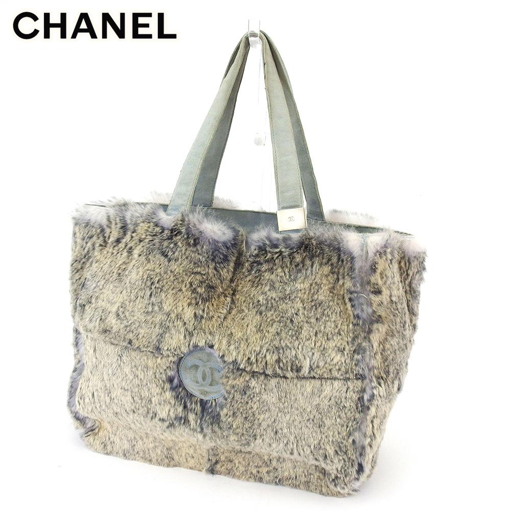 【中古】 シャネル トートバッグ ハンドバッグ レディース ココマーク グレー 灰色 ブルー スエード×rラパンファー CHANEL C3815