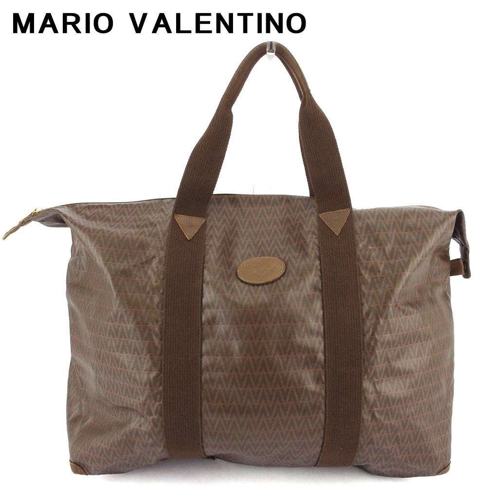 【中古】 マリオ ヴァレンティノ トートバッグ トート ショルダーバッグ レディース メンズ 大容量 ラージ MVマーク ブラウン ゴールド PVC×レザー MARIO VALENTINO C3921
