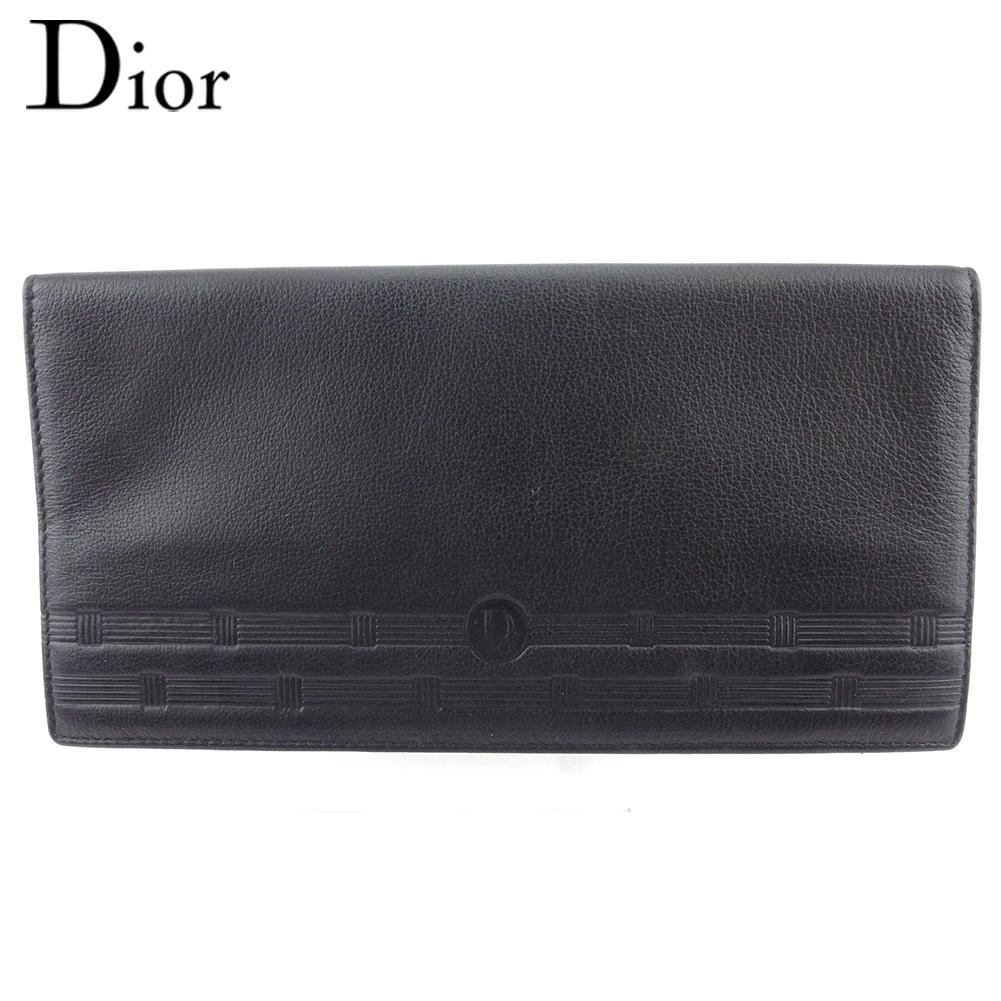【中古】 ディオール 長札入れ 札入れ メンズ ロゴ ブラック レザー Dior E1624 .